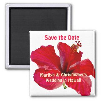 Save the Date hawaiische Hochzeit Quadratischer Magnet