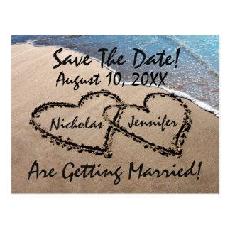 Save the Date Herz-Sand-Strand-Hochzeits-Postkarte Postkarten