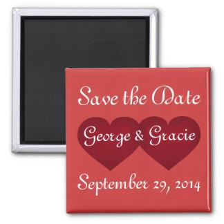 Save the Date hochrote Herzen Quadratischer Magnet