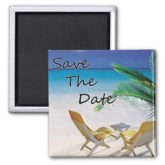 Save the Date Hochzeit in Urlaubsort Quadratischer Magnet