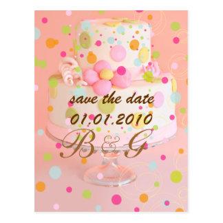 Save the Date Hochzeitskuchen Postkarte