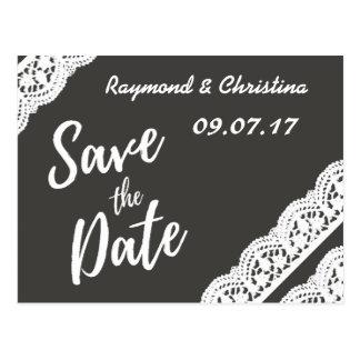 Save the Date Holzkohlengrau und Spitzekarte Postkarte