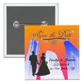 SAVE THE DATE KNOPF MIT ANSICHT VON NEW YORK CITY QUADRATISCHER BUTTON 5,1 CM