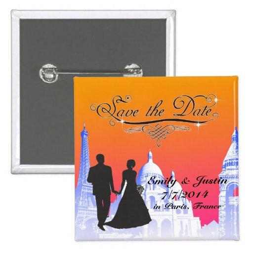 SAVE THE DATE KNOPF MIT ANSICHT VON PARIS, BUTTON