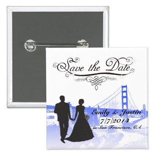 SAVE THE DATE KNOPF MIT ANSICHT VON SAN FRANCISCO BUTTON