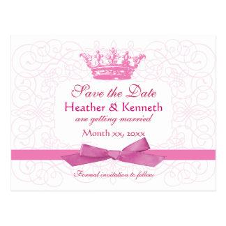 Save the Date Kronen-Rosa Postkarte