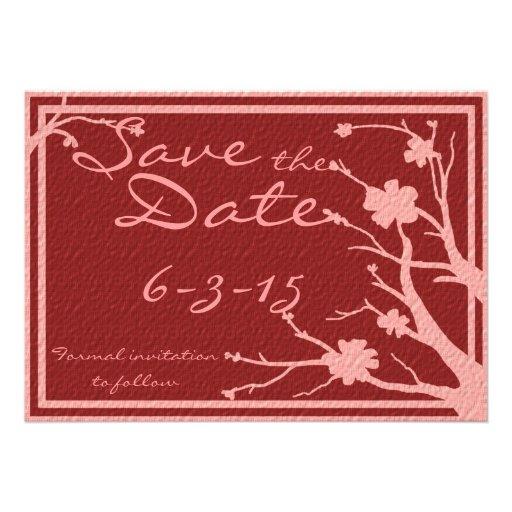 Save the Date laden kastanienbraune rosa Individuelle Ankündigung