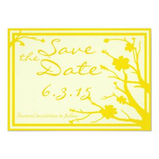 Save the Date lädt kundenspezifische gelbe 12,7 X 17,8 Cm Einladungskarte