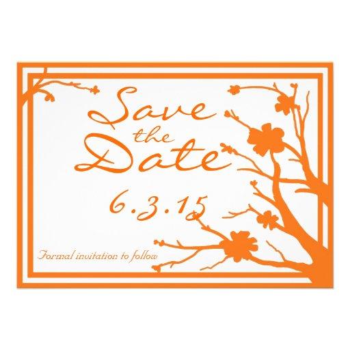 Save the Date lädt kundenspezifische orange Ankündigungskarten