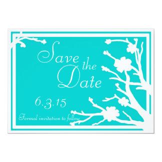 Save the Date lädt weiße Hochzeit des Türkises ein Einladungskarte