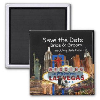 Save the Date Las- Vegashochzeits-Magnet Quadratischer Magnet