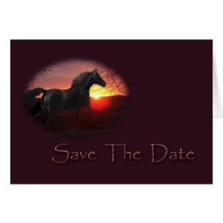 Save the Date laufendes schwarzes Morgan-Pferd Karte