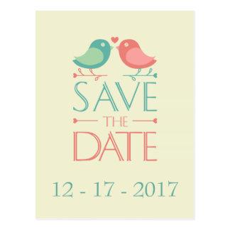 Save the Date Lovebirds, die Postkarte Wedding sin