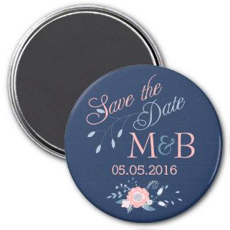 Save the Date Magnet Boho Hochzeits-Monogrammblau Runder Magnet 7,6 Cm