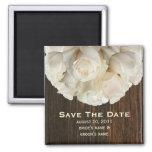 Save the Date Magnet - weiße Rosen u. Barnwood Kühlschrankmagnete