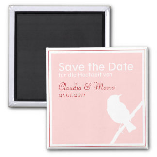 Save the Date Magnet zur Hochzeit türkis rot Quadratischer Magnet