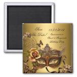 Save the Date Maskerade-Gold Quinceanera Bonbon-16 Kühlschrankmagnet