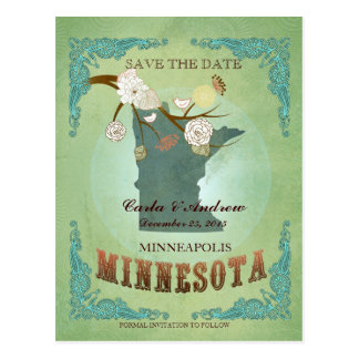 Save the Date - Minnesota-Karte mit reizenden Postkarte