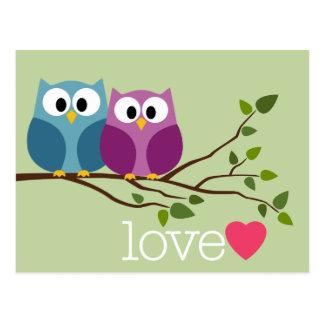 Save the Date mit niedlichen Eulen-Paaren Postkarte
