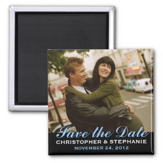 Save the Date moderner Art-Foto-Magnet Quadratischer Magnet