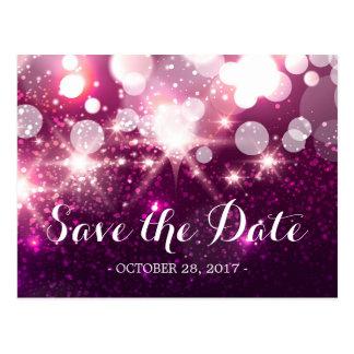 Save the Date noble rosa Glamour-Glitter-Glitzern Postkarte