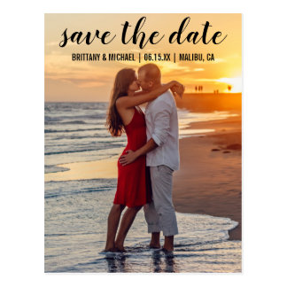 Save the Date Paar-Foto-Verlobungs-Mitteilung Postkarte
