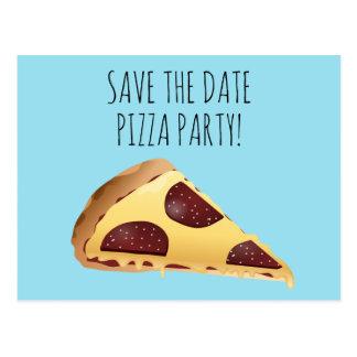 SAVE THE DATE PIZZA-PARTY EINLADUNGEN Postkarten