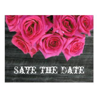 Save the Date Postkarte - heißes Rosa Rosen u. Bar