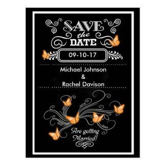 Save the Date Postkarten-orange Schmetterlinge Postkarte