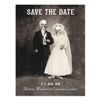 Save the Date Postkarten (Vintage Skeleton Paare)