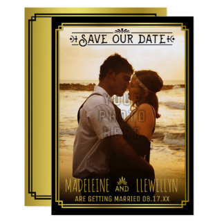 Save the Date Retro schwarzer GoldDeko, der Foto Karte