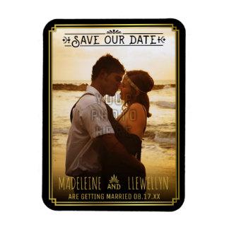 Save the Date Retro schwarzer GoldDeko, der Foto Magnet