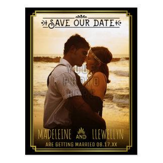 Save the Date Retro schwarzer GoldDeko, der Foto Postkarte