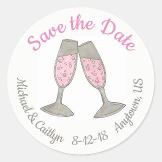Save the Date rosa Champagne-Toast-Hochzeits-Datum Runder Aufkleber