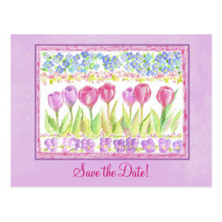 Save the Date rosa Lavendel-Tulpe-Blumen-Zeichnen Postkarte