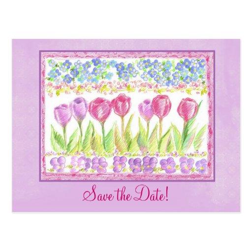 Save the Date rosa Lavendel-Tulpe-Blumen-Zeichnen Postkarten