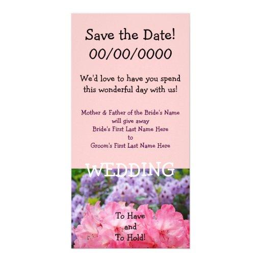Save the Date! Rosa Rhodies Blumen-Einladungen Fotokartenvorlage