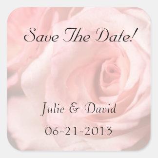 Save the Date rosa Rosen Quadrat-Aufkleber