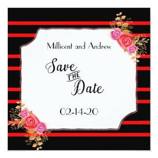 Save the Date Rot und Schwarzes Karte