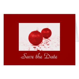 """""""Save the Date"""" - rote Weihnachtsbaum-Verzierungen Karte"""