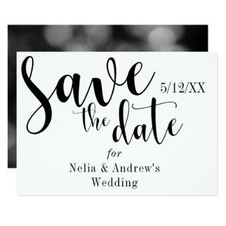 """""""Save the Date"""" schwarze Typografie-moderner 12,7 X 17,8 Cm Einladungskarte"""