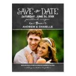 Save the Date schwarzer Tafel-Charme der Postkarte