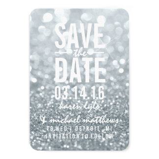 Save the Date | silbernes Glit Fab 8,9 X 12,7 Cm Einladungskarte