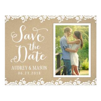 Save the Date Spitze und Kraftpapier der Foto-Post Postkarten