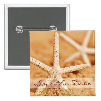 Save the Date Starfish-Knopf Quadratischer Button 5,1 Cm