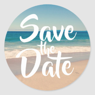 Save the Date Strand-Foto Runder Aufkleber