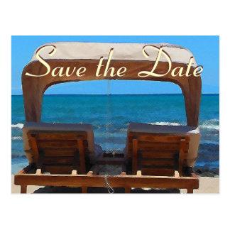 Save the Date Strand-Stuhl Postkarte