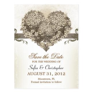 Save the Date Vintage Blumenherzpostkarten Postkarten