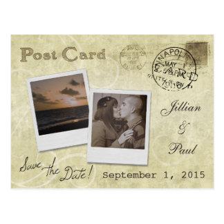 Save the Date Vintage Hochzeits-Postkarte Postkarte