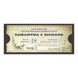 Save the Date Vintage Kartentypographieeinladung 10,2 X 23,5 Cm Einladungskarte